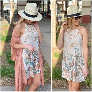 Floral print knit crochet tunic dress